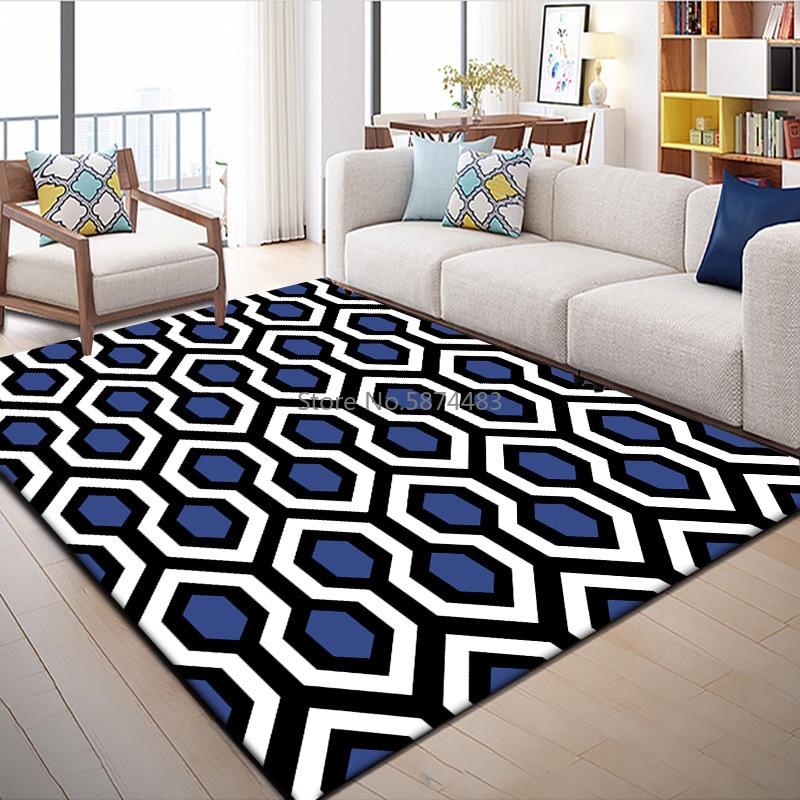 200*300 سنتيمتر الأزياء الحديثة هندسية الأزرق الأبيض الأسود الماس شعرية نوم غرفة المعيشة الطابق حصيرة السجاد التخصيص