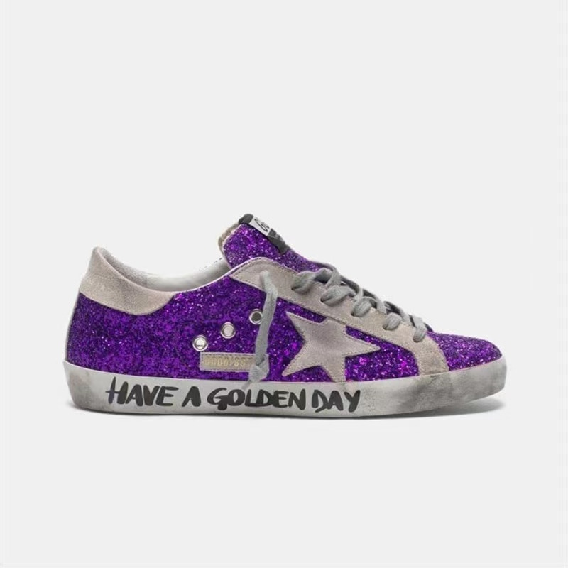 Spring and Summer New Purple Sequins Retro Old Small Dirty Shoes Kids Casual Graffiti Letters Non-slip Parent-child Shoes QZ23 enlarge
