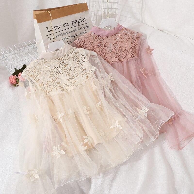 Elegant Autumn Women Embroidery Lace Flower Flare Sleeve Pullover Basic Bow Shirt Lady Elastic Slim Mesh Gauze Chic Blouse Tops