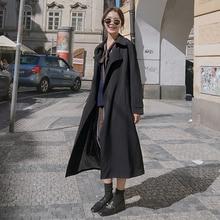 Brand New Fashion Long Black Trench Coat for Women with Belt Waterproof Duster Coat Cloak Lady Femal