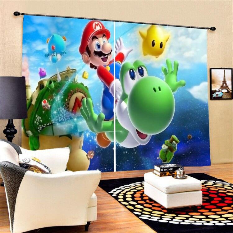 2 paneles/Set Super Mario cortinas de decoración para sala de estar dormitorio Oficina dibujos opacos cortinas de ventana tratamiento Dropshipping