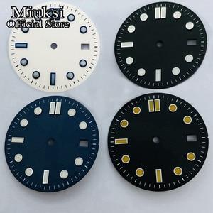 Miuksi 31mm black blue white sterile dial luminous dial fit NH35 movement