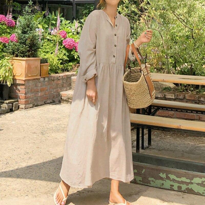 Elegant Button Shirt Dress Womens Spring Sundress ZANZEA 2020 Casual Long Sleeve Maxi Vestidos Female Baggy Robe Plus Size 5XL