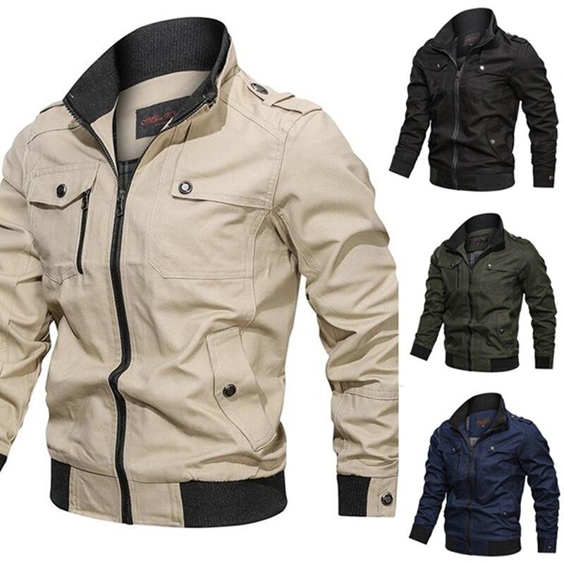 2021 куртка в стиле милитари, Мужская ветровка из хлопка на весну и осень, армейская мужская куртка-бомбер, мужская куртка