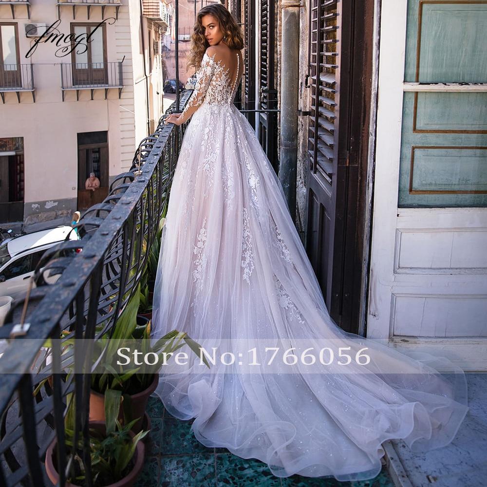 Fmogl Sexy Illusion Long Sleeve Lace A Line Wedding Dresses 2020 Luxury Appliques Court Train Vintage Bridal Gowns Plus Size