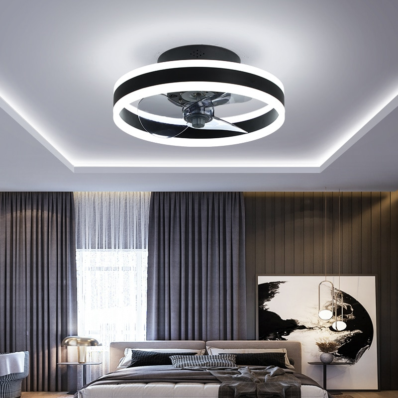 Simple Ceiling Fan Lamp with Remote Control Bedroom Dining Room Living Room Home Ceiling Lamp with E