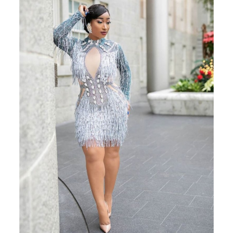 2021 Fashion Crystals Mesh Dress Sexy Rhinestones See Through Stretch Stage Dance Wear Evening Celeb