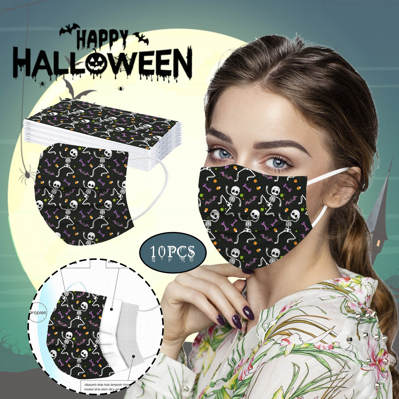 10/30/50PCS Halloween Disposable Unisex Mask Disposable Adults 3-Layer Soft Men Women Mask Mascarillas Protective Adults Mask