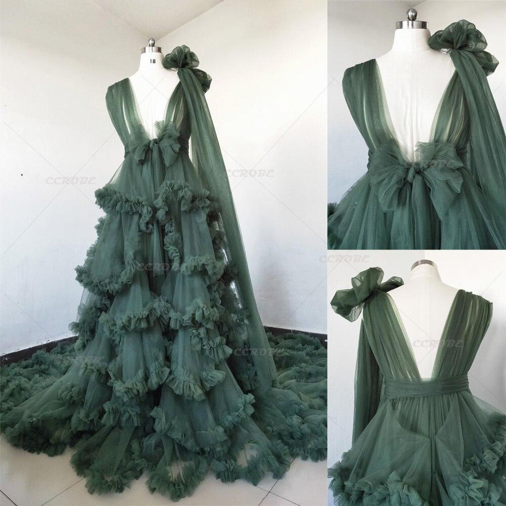 Luxury Women Robe Perspective Sheer Tulle Boudoir Bridal Robes Sleepwear Puffy Wedding Dressing Gown Photoshoot Maternity Dress