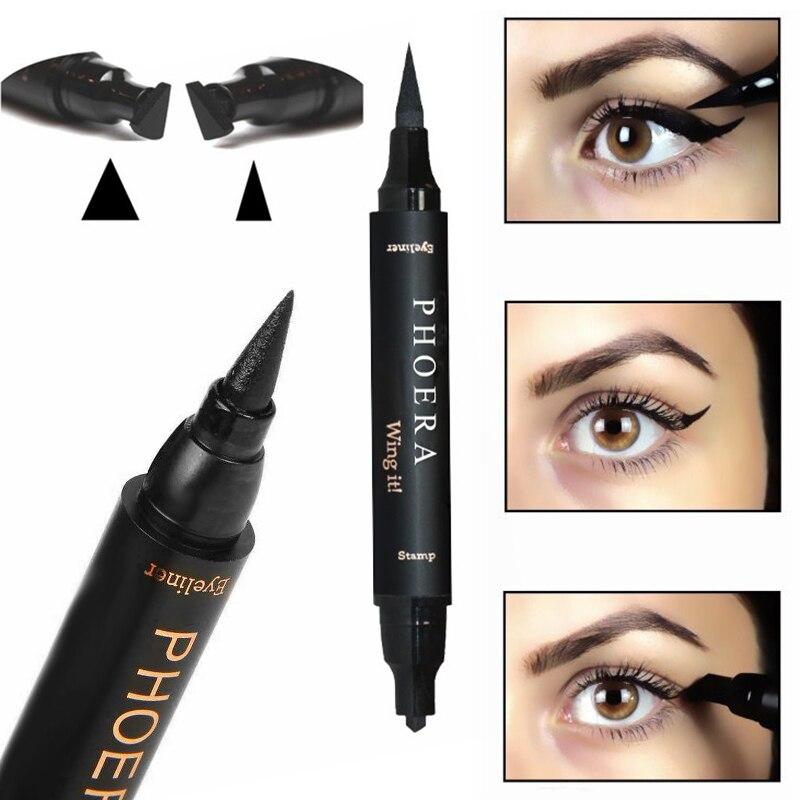 PHOERA 2 en 1 delineador de ojos líquido negro lápiz de sello impermeable sello de doble punta delineador de ojos cosmético delineador de ojos de secado rápido TSLM2
