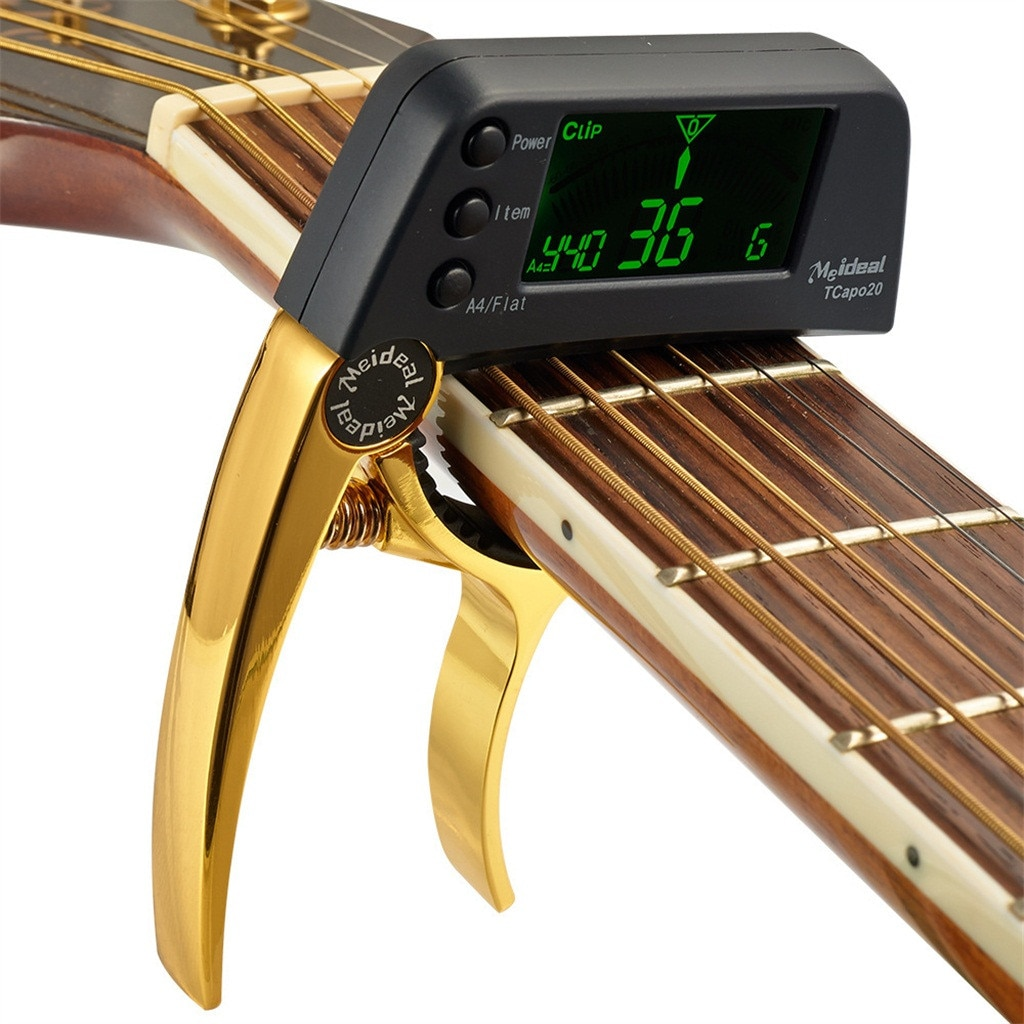 Multi-use TCapo20 Guitar Capo Tuner with Large LCD Display for Acoustic Folk Electric Guitar 2 In 1 Bass Guitar Tuner and Capo