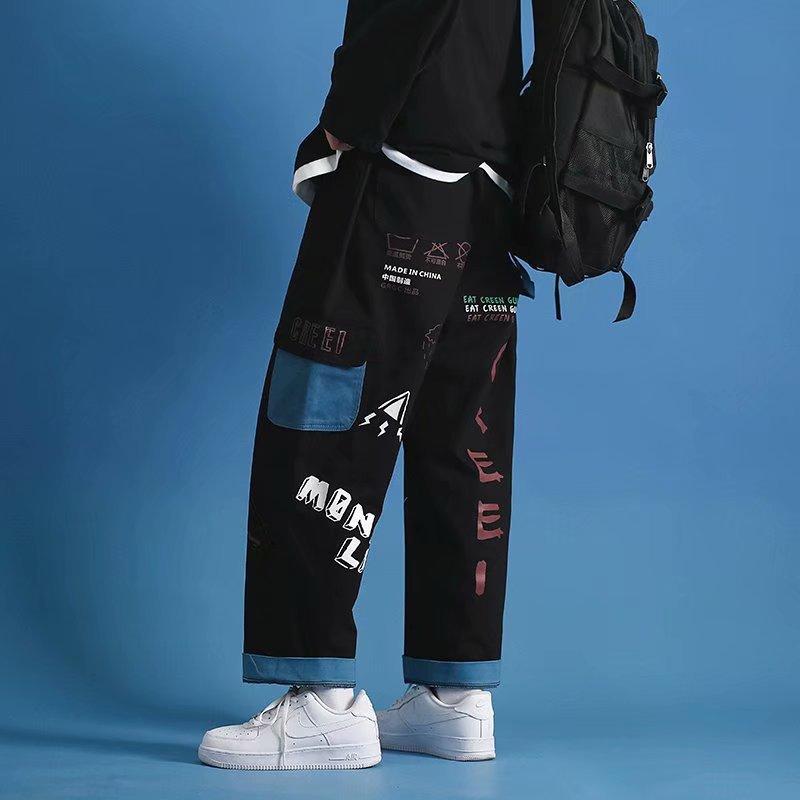 Граффити Брюки карго Для мужчин прямые брюки со средней талией черные брюки Для мужчин s прямые штаны в стиле «хип-хоп» свободные Повседневн...