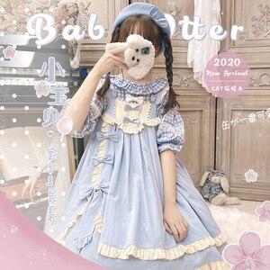 Lolita dress vintage  bowknot cute printing high waist princess victorian strap dress kawaii girl gothic lolita cosplay loli