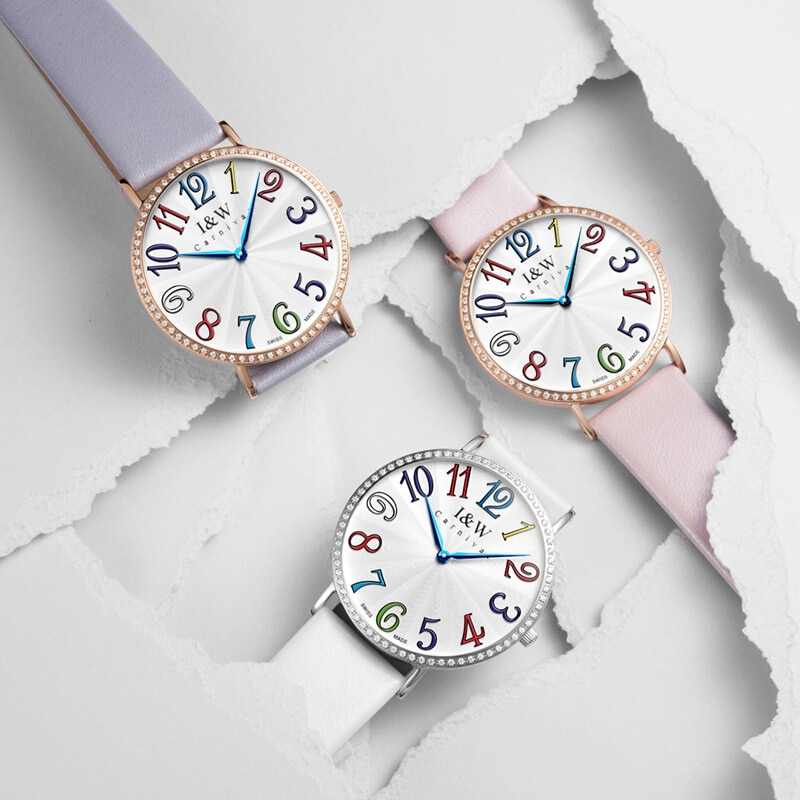 Genuine Swiss IW watch Aiwochi ladies watch fashion ultra-thin quartz watch digital waterproof female watch large dial enlarge