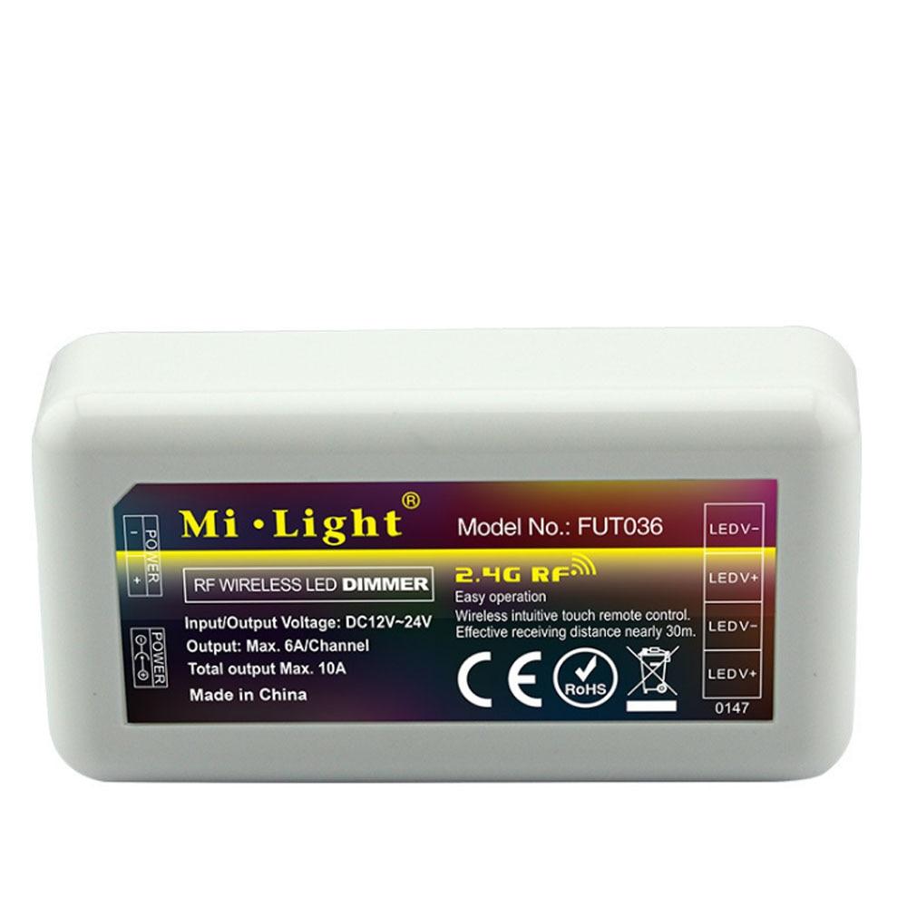 Controlador de tira led RGB MIlight FUT036 2,4 GHz de 4 zonas 6A/Canal 12 ~ 24V salida Total inalámbrica Max.10A controlador