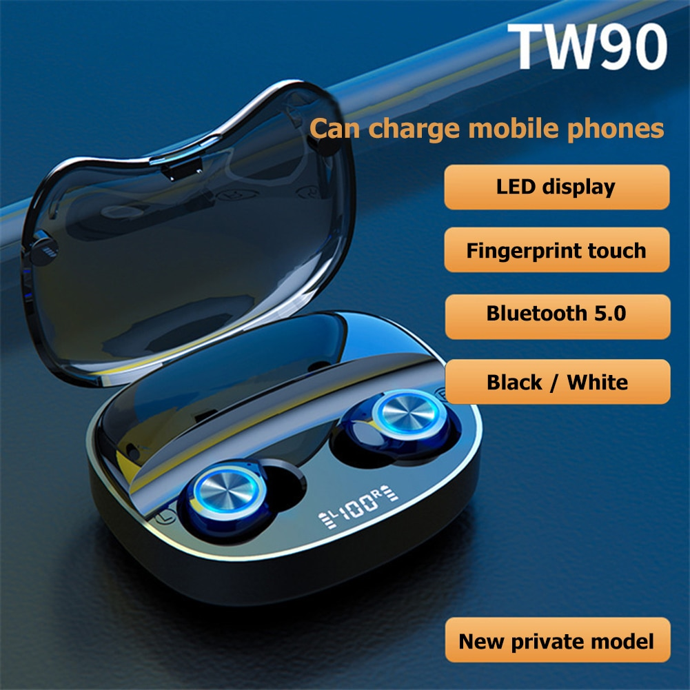 TW90 TWS Wireless Headphone Bluetooth 5.0 Earphones Charging Box Mini Stereo Sports Waterproof Heads