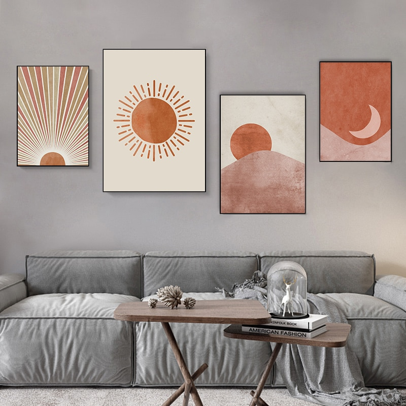 Canvas Prints Abstract Minimalist Line Wall Art Sun and Moon Scene Boho Canvas Prints Painting Pictures for Living Room Decor
