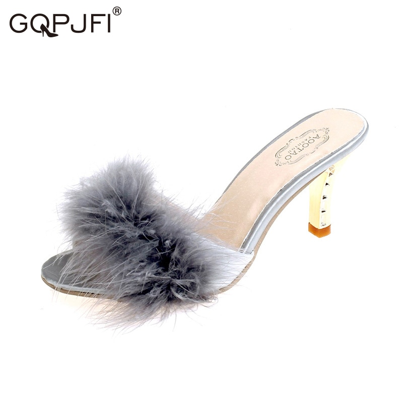 hairy maclary scattercat GQPJFI Summer Plush Slippers Fashion Sexy Maomao Ladies High Heel Slippers Hairy Hairy Ms Slippers Women's Plush Slippers Shoes