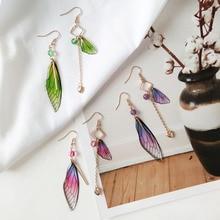 Personality Temperament Small Fresh Flap Wings Creative Asymmetry Ear-Free Ear Clip Gradient Color Super Fairy Girl Earrings
