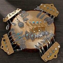 Fnio vintage boho flor lua brincos para as mulheres prata cor pena sol balançar brinco conjunto 2020 moda étnica brinco jóias