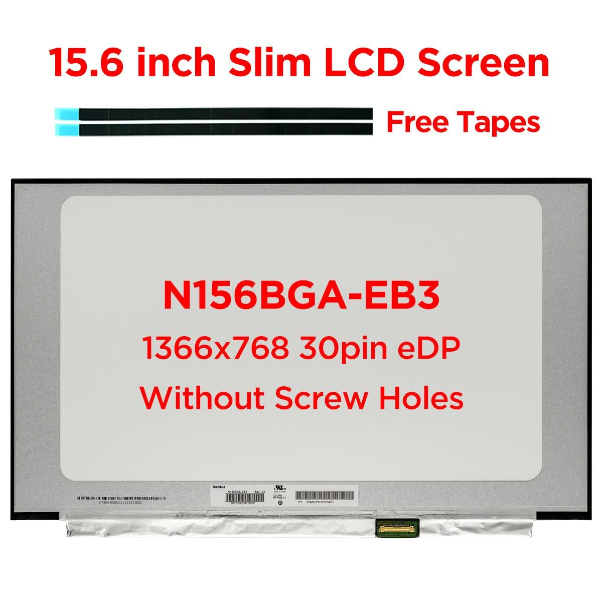 15,6 дюймовый тонкий ЖК-экран для ноутбука, Φ Rev.C1 HD 1366x768, матричная панель дисплея, светодиодная глянцевая панель без отверстий для винтов, 30-к...