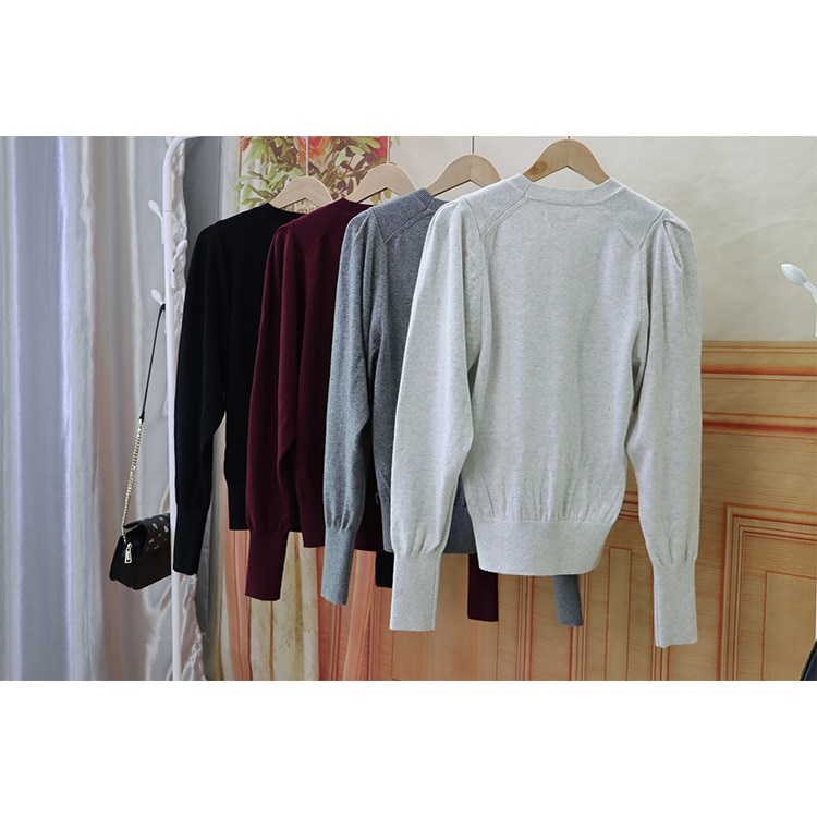 2021 Autumn and Winter Style Round Collar Solid Color Lantern Sleeve Sweater Temperament Commuter Wool Sweater enlarge