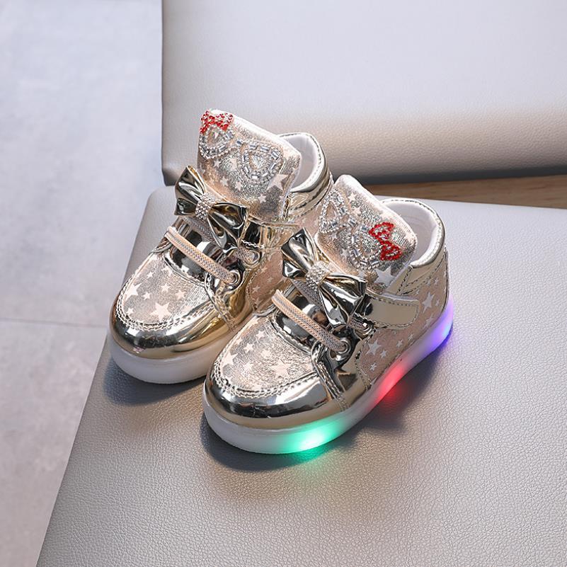 Lentejuelas moda niños zapatos con luz suave niños zapatillas luminosas niño niña Led luz Deporte Zapatos tamaño 21-30