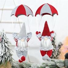 40 # noël ornements scène décorations noël sans visage parachutisme vieil homme Parachute intérieur extérieur fête décorative Navidad