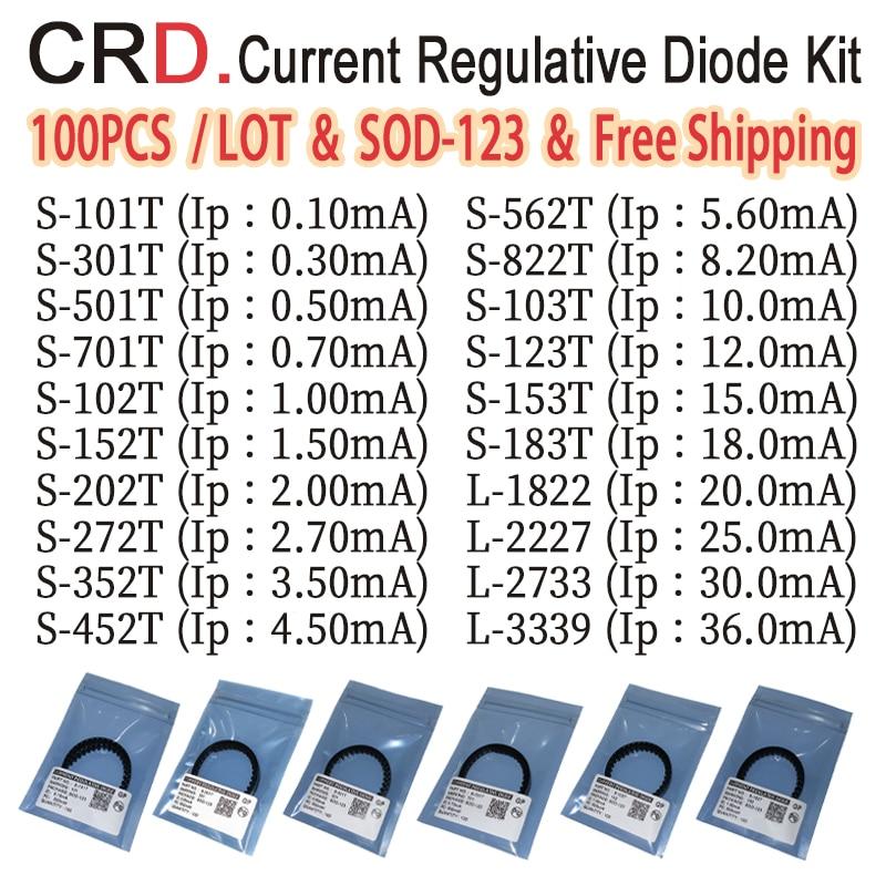 100PCS/LOT CRD Diode Kit S-272T S-352T S-452T S-562T S-822T S-103T S-123T S-153T S-183T L-1822 L-2227 L-2733 L-33SOD-123 SMD LED