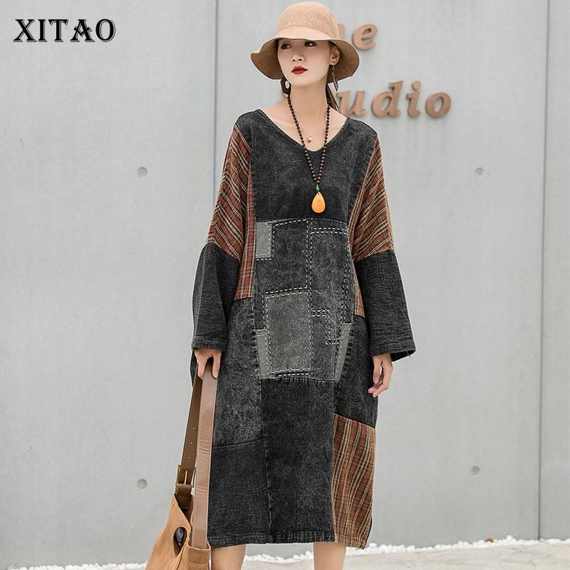 فستان كاوبوي منقوش من XITAO للسيدات لخريف 2021 وصل حديثًا بتصميم شخصي فضفاض برقبة على شكل حرف v فستان بأكمام كاملة WMD3880