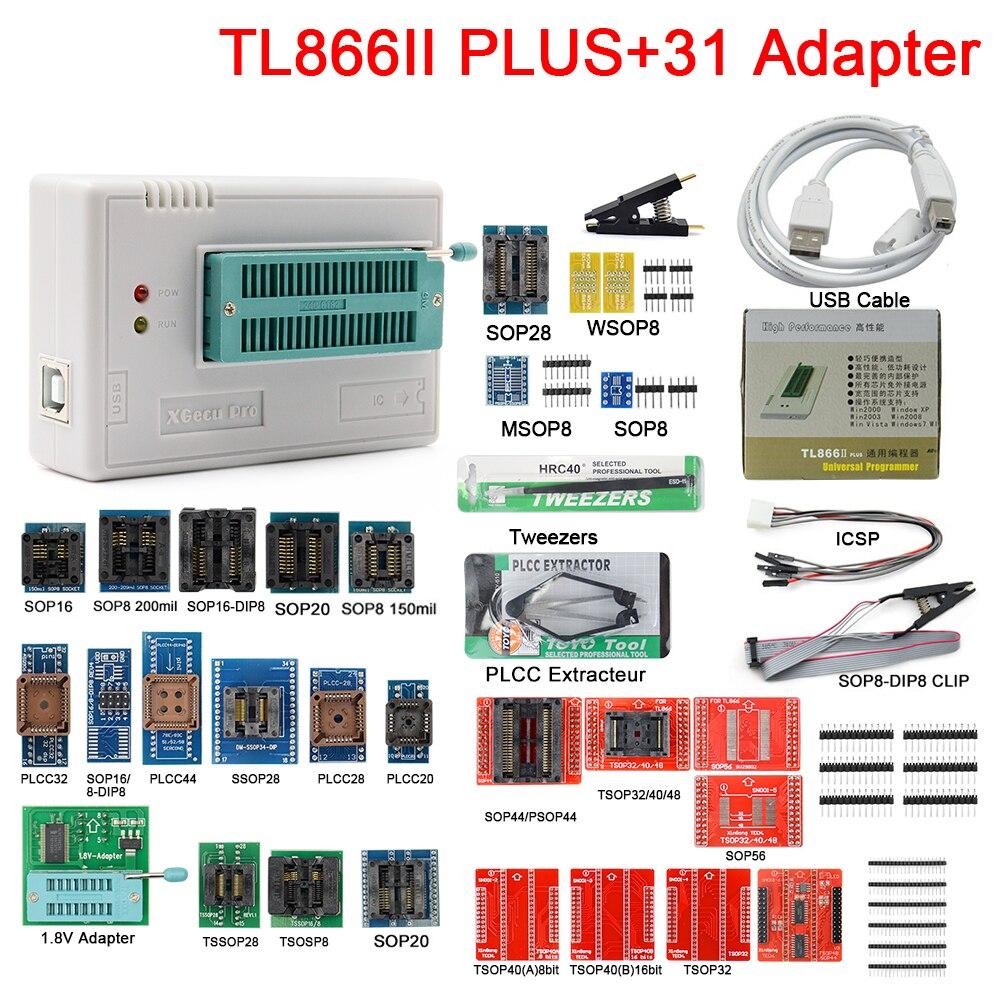 مبرمج عالمي أصلي TL866II V10.8 Plus مع 31 قطعة من محولات Nand Flash AVR PIC Bios USB مترجم أداء عالي