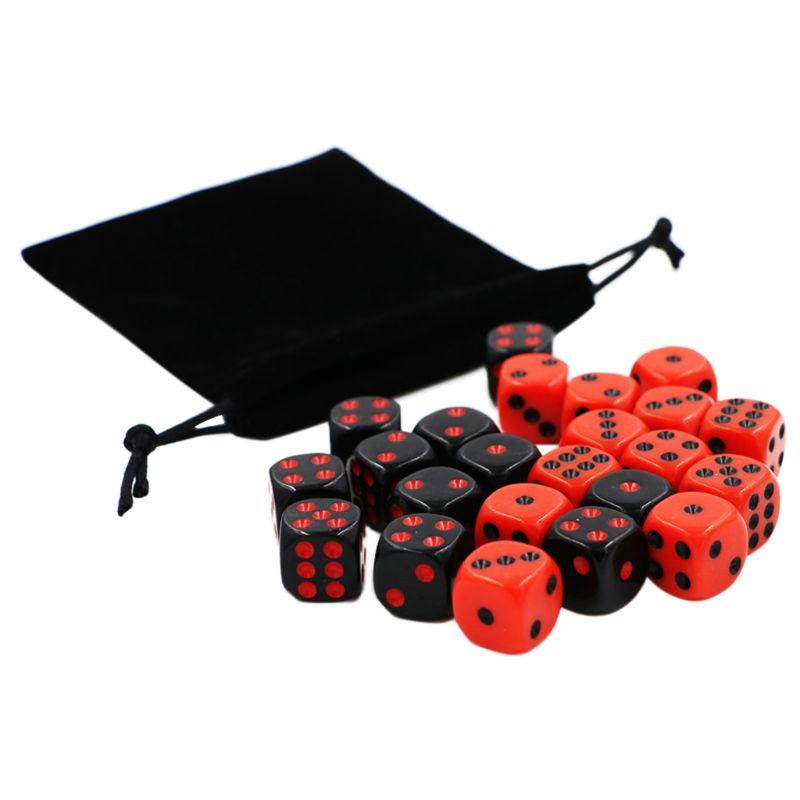 24 pçs/set 16mm Dice Partido Cubo de Canto Redondo Ponto Dice RPG Jogos de Azar Jogo de Tabuleiro Vermelho Preto Com Saco de Veludo G99D
