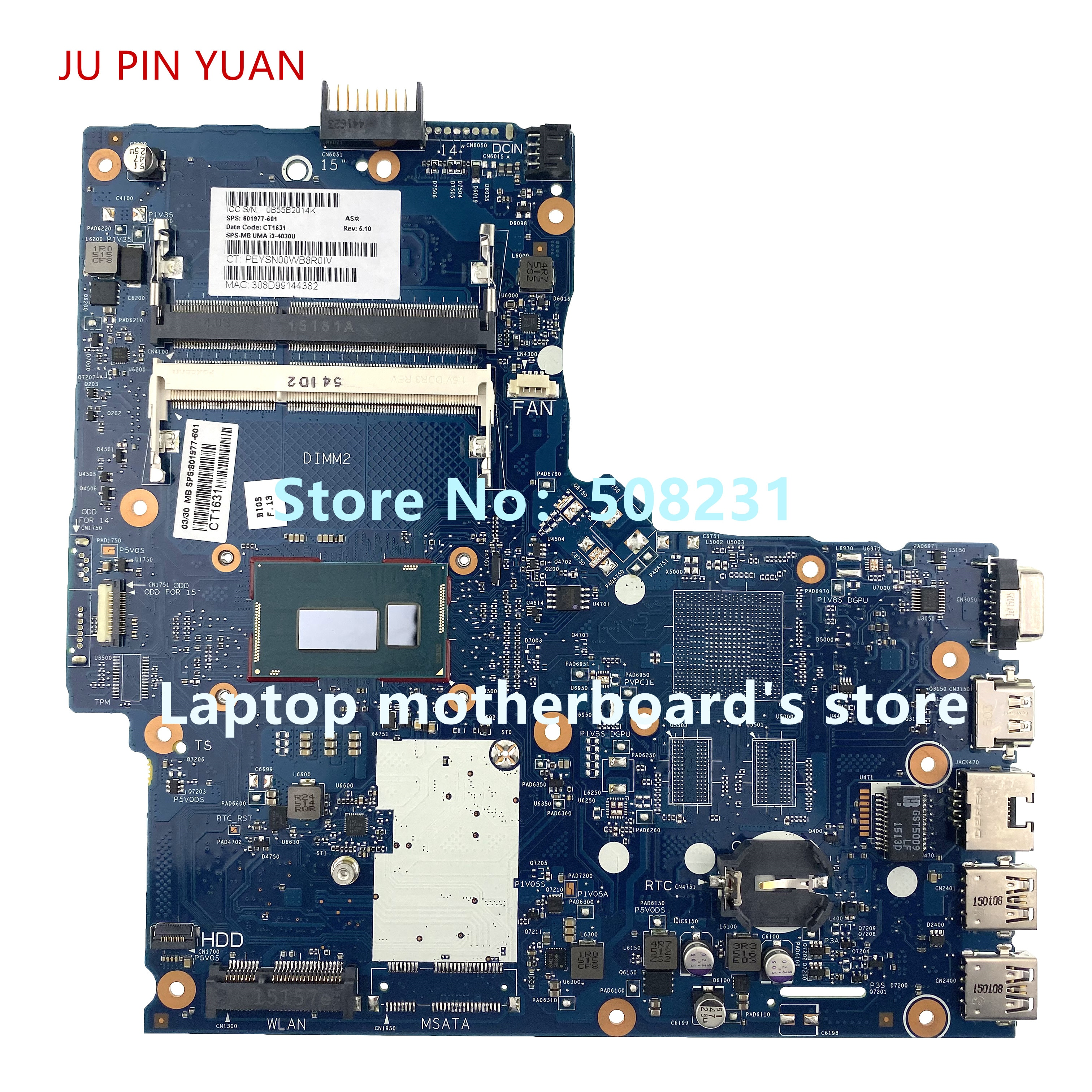 Ju pin yuan para HP 350 G2 placa base de computadora portátil con I3-4030U CPU 801977-501, 801977-001 6050A2677201 100% totalmente