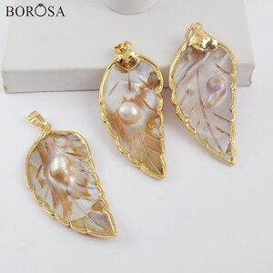 BOROSA Natural Mother of Pearl Shell, 5/10Pcs Gild Trim Carved Leaf Natural Pearl Shell Pendant Sea Shell Necklace Jewelry G1908