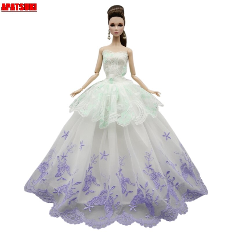 White Purple Flower Butterfly Lace Wedding Dress For Barbie Doll Outfits Clothes Party Gown For 1/6 BJD Dolls Accessories Toys