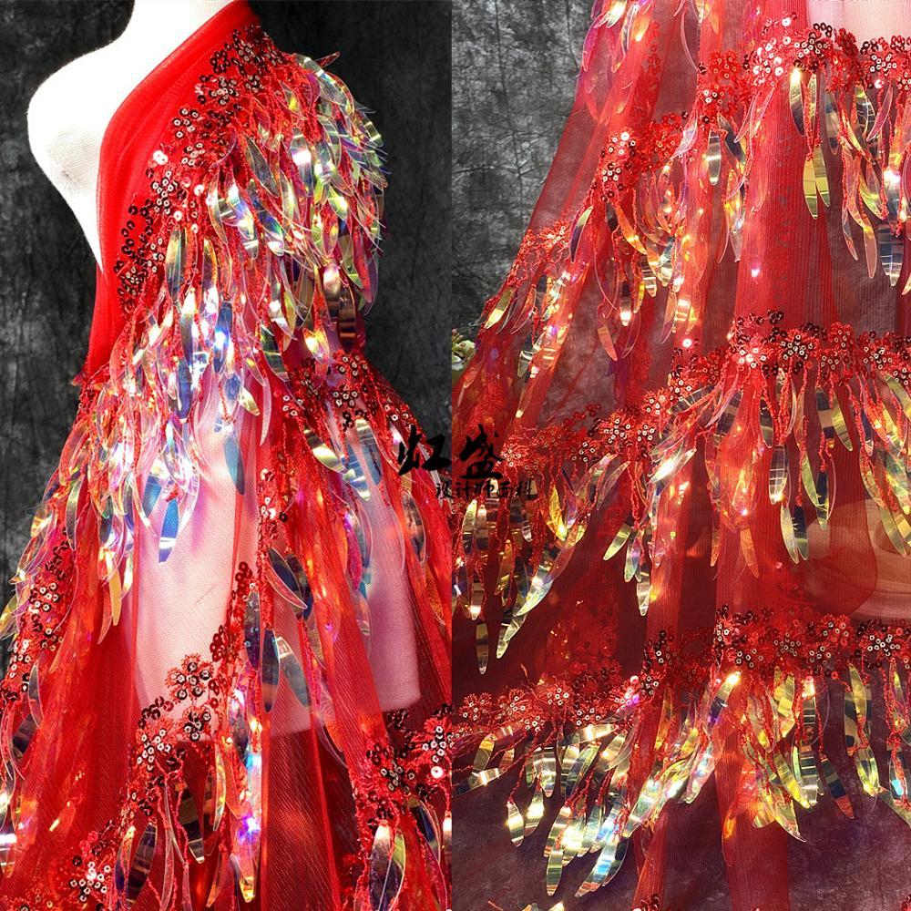 5 cores em estoque borla franja lantejoulas tecido de renda brilhante! Luxo tule malha bordado lantejoulas renda para vestido, preço de fábrica