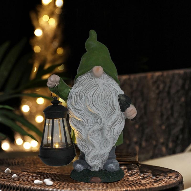 الراتنج جنوم تمثال في الهواء الطلق القزم النحت حديقة الحلي مع مصابيح ليد بالطاقة الشمسيّة مضحك جنوم تمثال للمنزل ساحة فناء ديكور