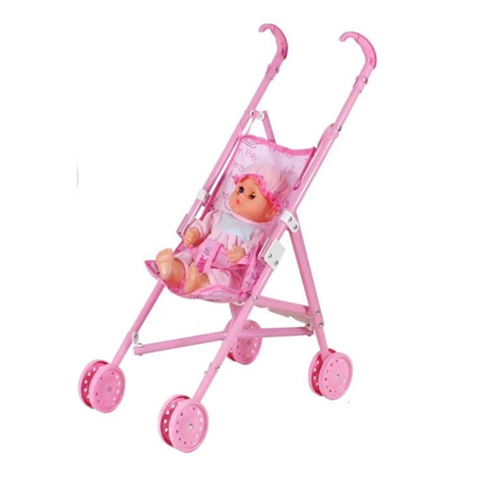 Carrito de muñecas cochecito silla de paseo plegable cochecito Carro de bebé niños Carro de juguete muñeca bebé niña juego de juguete