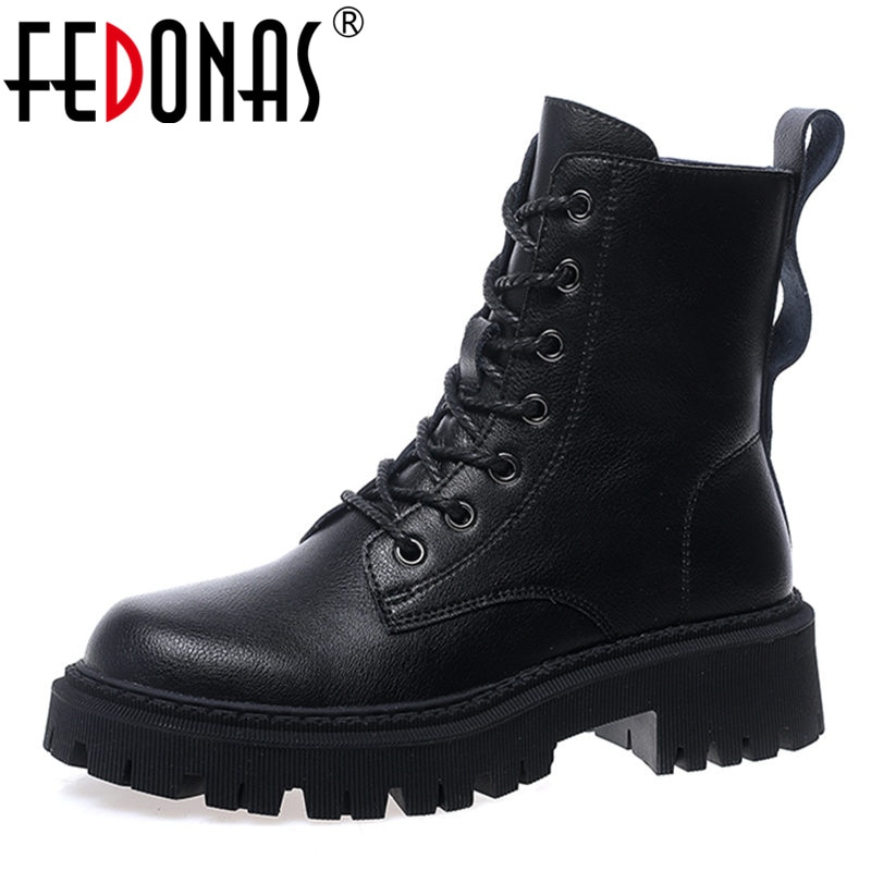 FEDONAS Ins Punk Women Ankle Boots Genuine Leather Side Zipper Shoes Woman High Heels 2020 Fashion Winter Motorcycle Boots Shoes