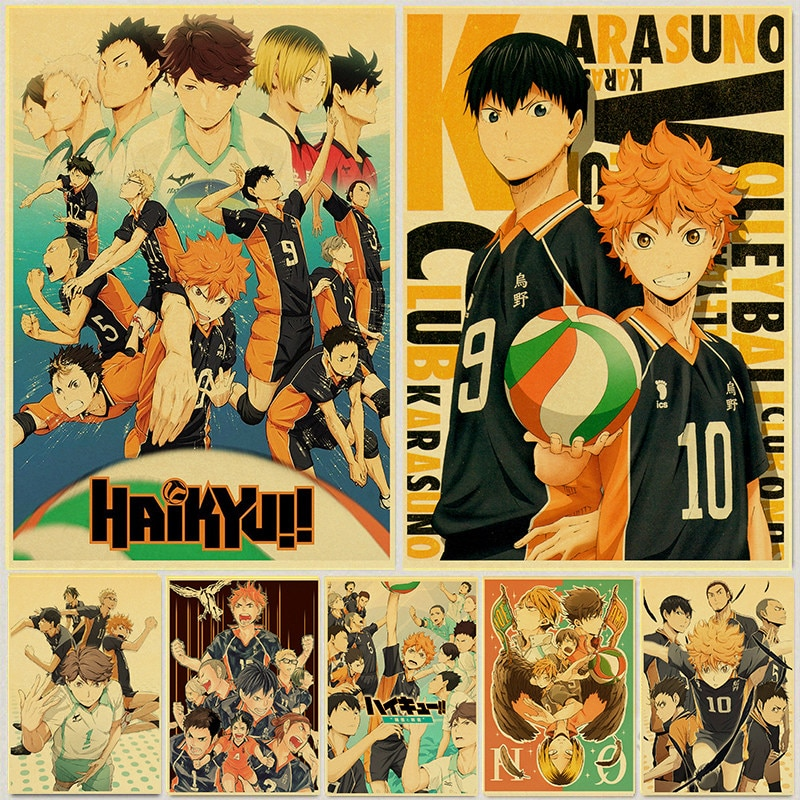 Japanese Cartoon Haikyuu Poster Volleyball Boy Art Painting Kraft Paper Prints Wall Sticker for Room