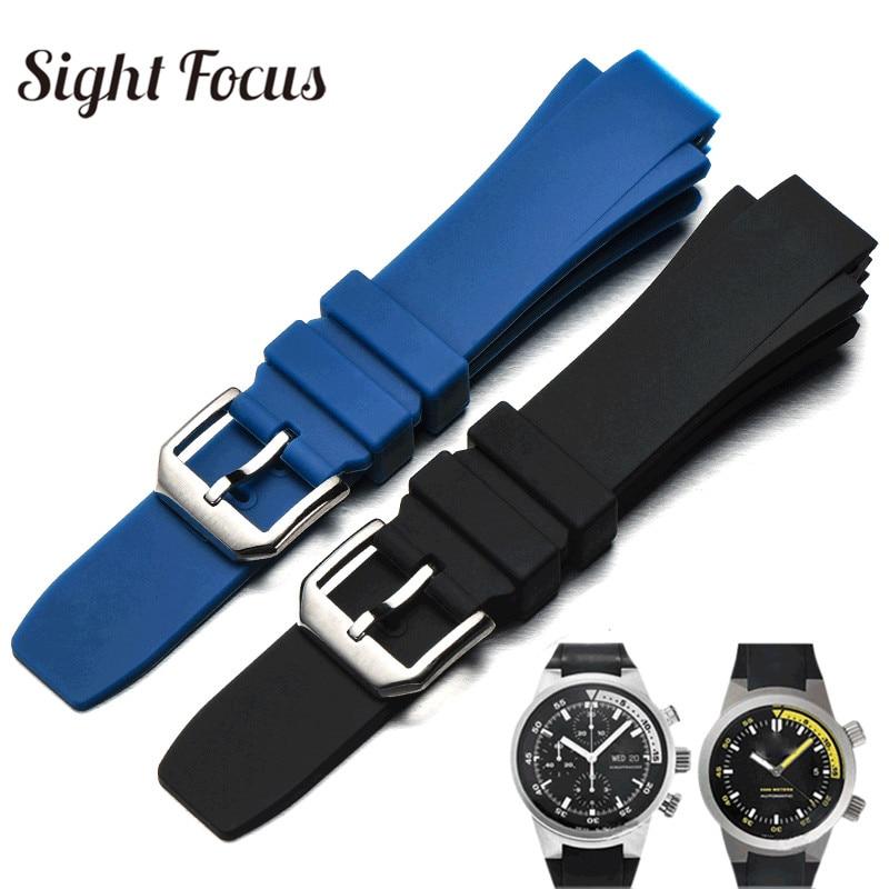 26x16mm حزام (استيك) ساعة ل IWC Aquatimer استبدال حزام IW354807 IW353804 سوار الرجال الأسود Silionce المطاط مربط الساعة Masculino