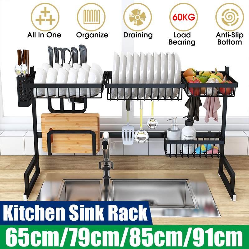 Edelstahl Metall Küche Regal Organizer Gerichte Trocknen Rack Über Waschbecken Abfluss Rack Küche Lagerung Arbeitsplatte Utensilien Halter
