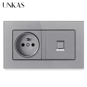 UNKAS Tempered Crystal Glass Panel 16A French Standard Wall Power Socket + RJ11 Telephone Connector Jack 146MM*86MM Outlet