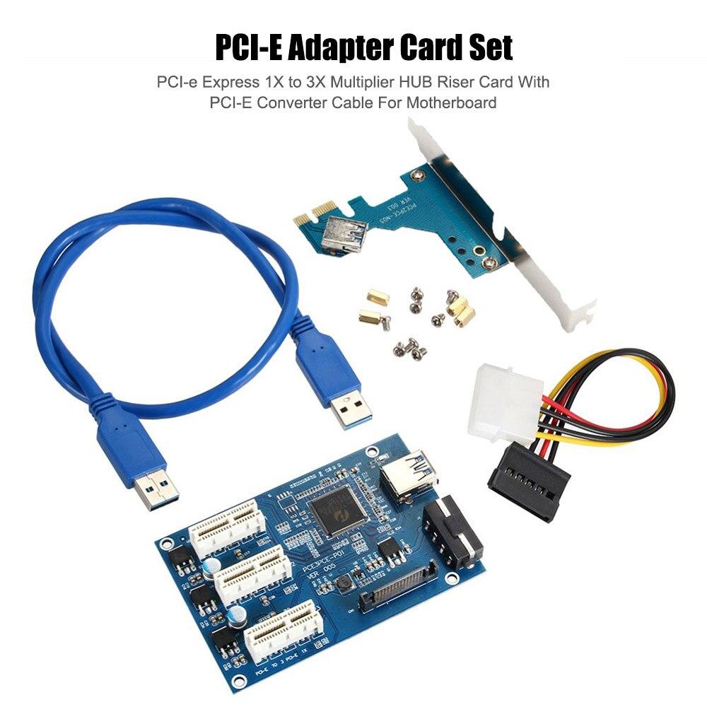 PCI-E محول مجموعة من البطاقات PCI-e Express 1X إلى 3X مضاعف HUB Riser بطاقة مع محول كابل PCI-E للوحة الأم