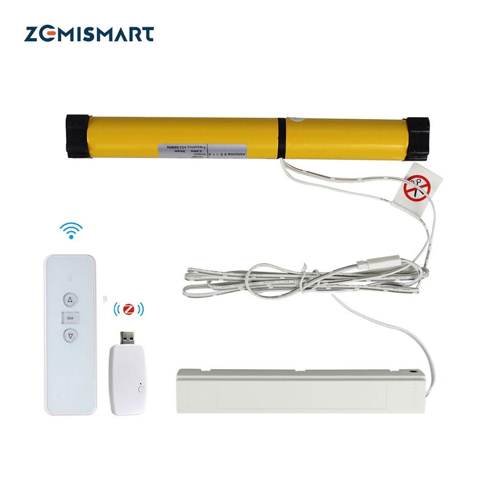 Zemismart-محرك ستارة دوار مع مفتاح USB ، ستارة ذكية قابلة لإعادة الشحن مع تحكم RF ، Tuya Alexa Google Home