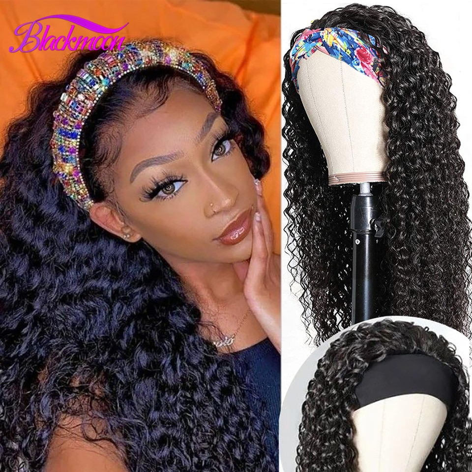 Brazilian Curly Hair Headband Wig Glueless Scarf Remy Human Hair Wigs for Black Women Full Machine M
