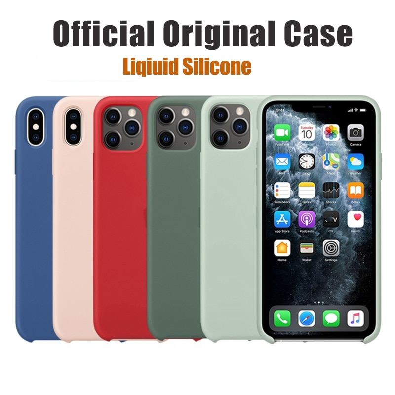 Official Original Silicone Case for Apple iPhone 12 Pro MAX XS XR 7 8 6S Plus 8Plus 11 Mini 12Pro Br