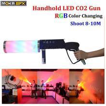 1 Teile/los nebel gun shooter co2 gun für dj led Co2 Pistole Mit Batterie RGB farbe LED Co2 Kryo fogger wirkung fx co2 jet maschine