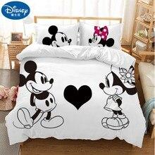 Ensemble de literie pour enfants   Couple damour Minnie Mickey Mouse, dessin animé, mignon noir blanc, housse de couette, taie doreiller, cadeau pour garçons et filles