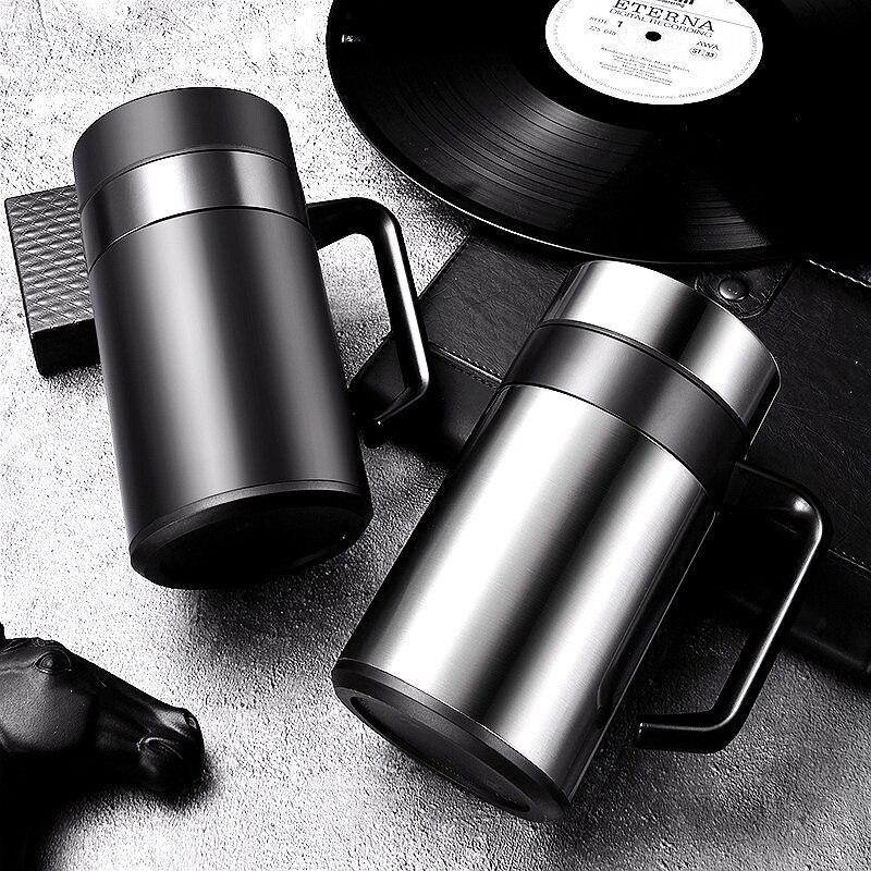 Caneca de Chá de Aço Inoxidável do Curso da Tampa do Punho para o Escritório Copos de Garrafa de Água da Isolação Térmica das Canecas de Café 420ml